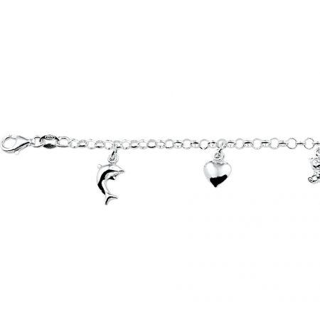 Zilveren armband met 5 bedeltjes.