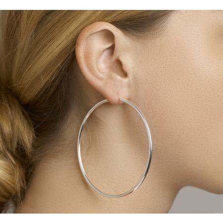 Zilveren oorringen 70mm