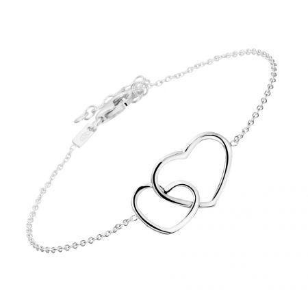 Zilveren armband hart 1,2 mm 16 + 3 cm