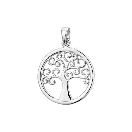 Gerhodineerd zilveren hanger met een levensboom.