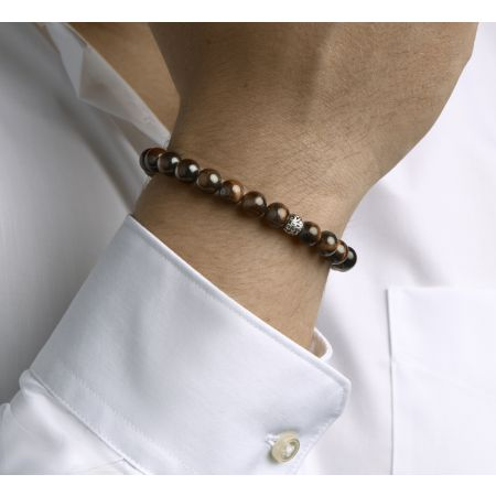 Armband met tijgeroog kralen met zilveren kralen