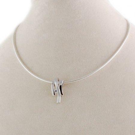 Zilveren collier, zirkonia