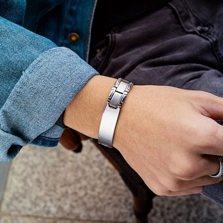Stalen armband met graveerplaat 21 cm x 12mm