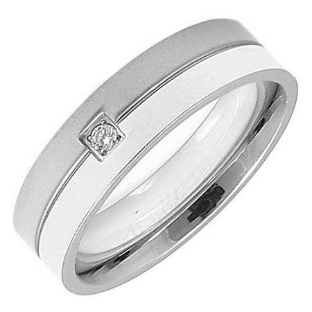 Edelstalen ring met zirkonia