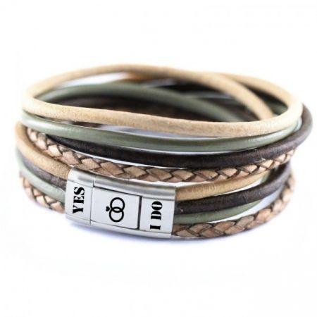 Lederen wikkelarmband