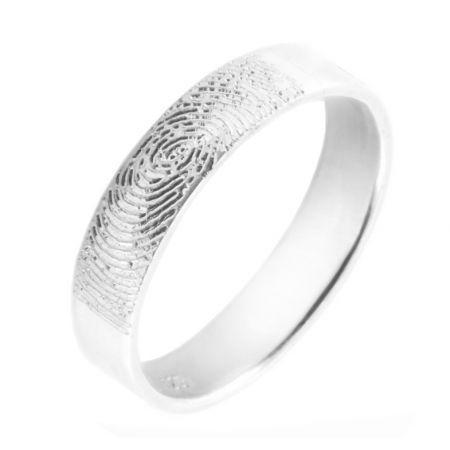 Zilveren ring met vingerafdruk 5mm