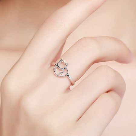 Zilveren ring katje