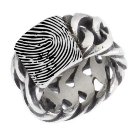 Edelstalen ring met vingerafdruk